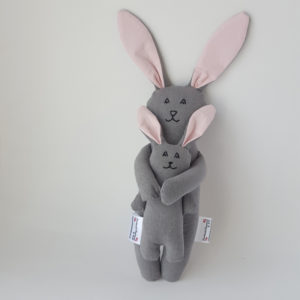 Mother and baby bunny cloth doll