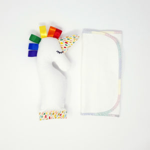 Rainbow Baby Shower Unicorn Gift Set Burp Cloth - web 01